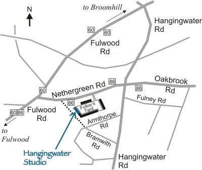 Map showing the location of Hangingwater Studio